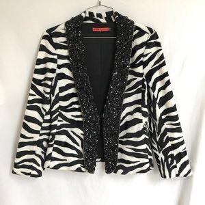 Alice and Olivia zebra embellished blazer